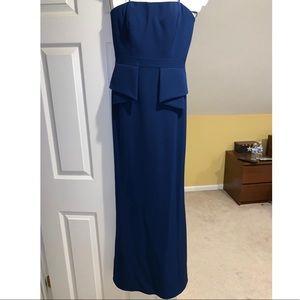 Aidan Mattox Strapless Crepe Long Gown
